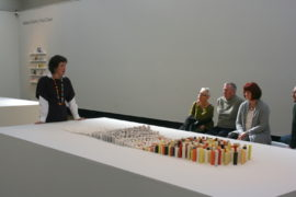 Natasha Daintry talking to members of the Contemporary Art Society