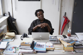 John Akomfrah at his London studio, 2016. Courtesy: Artes Mundi