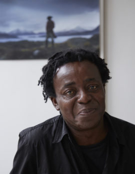 John Akomfrah at his London studio, 2016. Courtesy: Arts Mundi