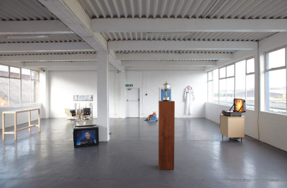 'Gongoozler' exhibition, installation view, inaugural show at Grand Union, Birmingham, with work by Broomberg & Chanarin, Roderick Buchanan, Ruth Ewan, Josephine Flynn, Will Holder, Christopher Hodson, Kristina Norman, Cai Nyahoe, Elizabeth Price and Jon Wilkes,  27 March – 1 May 2010