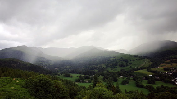 Curtain of rain approaching Ambleside & Rydal. Photo: Nathan Walker