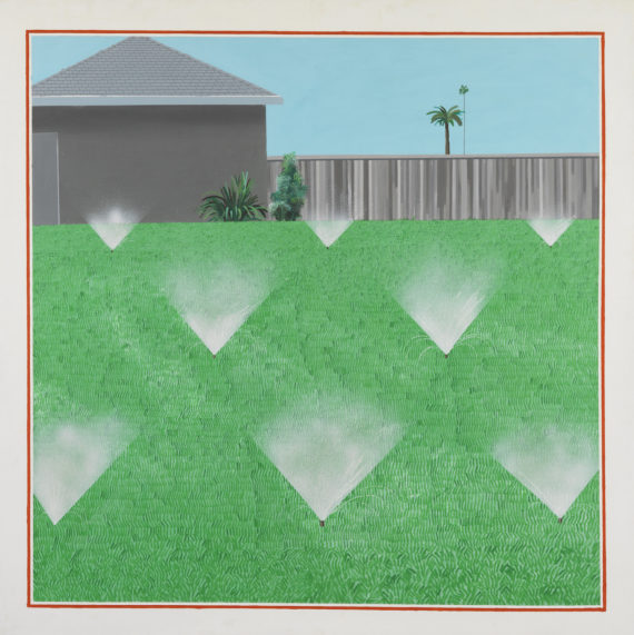 David Hockney, A Lawn Being Sprinkled, 1967 Acrylic paint on canvas 1530 x 1530 mm Lear Family Collection © David Hockney. 