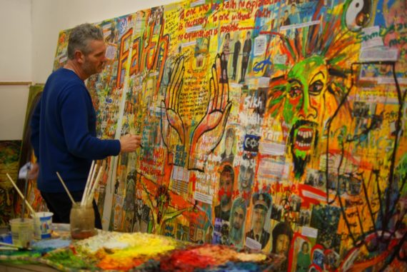 Artist Russell Haines working on damaged triptych at Faith, Gloucester Cathedral. Photo: Stig Godding. Courtesy of Gloucester Cathedral