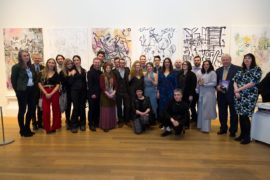 RSA Award Winners. Left to right: Delia Baillie RSA (exhibition convenor; James Knox (Director of the Fleming-Wyfold Foundation); Jasmine Summerton; Sam Drake ; Clara Hastrup; Camille Bernard; Luke Vinnicombe; Felix Carr; Kirsty Wallace; James Howden Boyle; Doug Stevens; Megan Hampton; Claire Connor (kneeling); Jonathan Piper; Lucy Wayman; Oliver Beetschen; Diane Percy Chorafa; Callum Kennedy (kneeling); Fergus Low; Elspeth Tayler; Robbie Miller; Tamara Richardson; Douglas Connell (Trustee of the Stevenston Trust); Rachel Simmonds (Chairman of the Friends of the RSA. Courtesy RSA