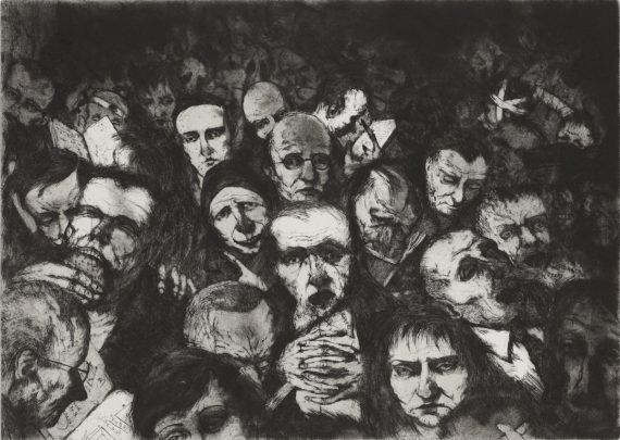 Ken Currie, The Shape of the People, 1992, Etching, 51x68.8cm. Courtesy: Glasgow Print Studio
