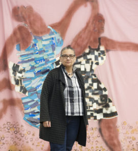 Lubaina Himid, photographed at Invisible Strategies exhibition, Modern Art Oxford, 2017. Photo: Edmund Blok