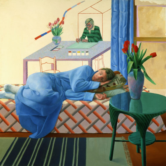 "David Hockney, Model With Unfinished Selff-Portrait, 1977, oil on canvas, 60""x60"", © David Hockney"