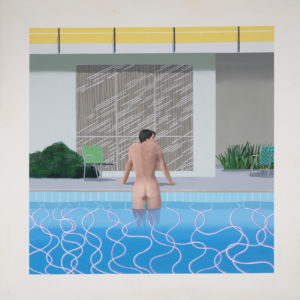 Peter Getting Out of Nick's Pool 1966 Acrylic paint on canvas 1520 x 1520 mm National Museums Liverpool, Walker Art Gallery. Presented by Sir John Moores 1968 © David Hockney. Photo: Richard Schmidt