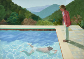 "David Hockney, Portrait Of An Artist (Pool With Two Figures), 1972, acrylic on canvas, 84""x120"", © David Hockney. Photo: Art Gallery Of New South Wales/Jenni Carter"