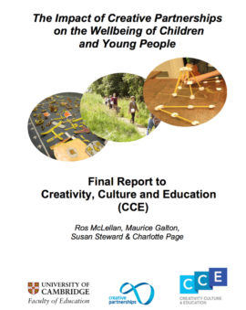 The impact of creative partnerships on the wellbeing of children and young people. Image taken from front cover of PDF.