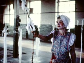 Monica Ross, Ghost in the Spinning Mill, performance, Rochdale, 1985 © mrag. Courtesy: Locus+