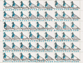 Stephen Fowler, Pigeon Post, sheet of rubber stamp printed, perforated 'artistamps'. Photo: Stephen Fowler