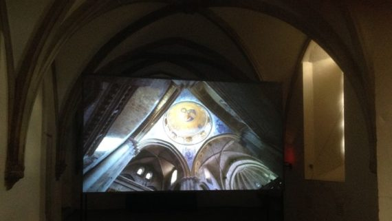 Suki Chan, Still Point, 2015 (installation shot at Norwich Cathedral), a Film and Video Umbrella touring project, curated by Paul Bayley