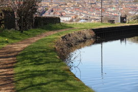Leeds to Liverpool canal (foreground). Blackburn in the distance.