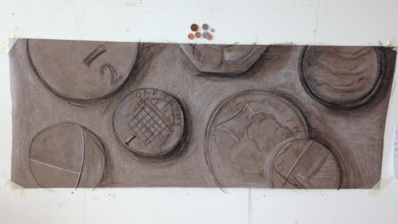 Large scale coins - Chalk and charcoal on wallpaper