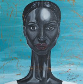 "Jessica Omitola, Untitled (self-portrait), 16"" x 16"" Acrylic paint, 2016. Photo: Copyright Rod Leon, 10 February 2017; Courtesy: Chuck Gallery, Manchester"