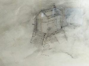Linn O'Carroll, Quiet House, silverpoint drawing on gesso, graphite, rust, 2014.