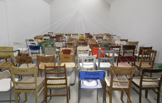Mark Wallinger, According to Mark (detail), 100 chairs, string, marker pen, steel eye, 2010. Collection of: De Pont Museum, Tilburg; Courtesy: the artist and Hauser & Wirth