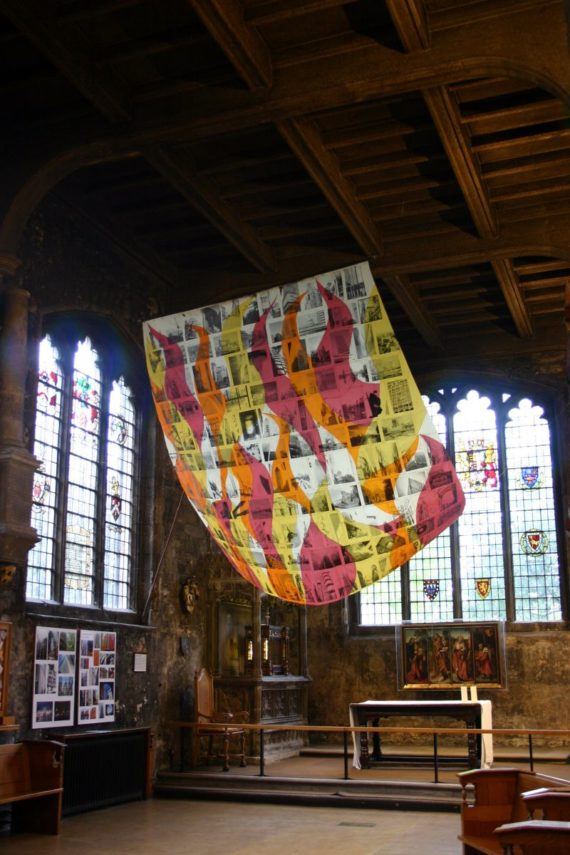 Victoria Burgher, The City sets sail, 2016 (installation shot at All Hallows by the Tower), facilitated by ACE Trust.