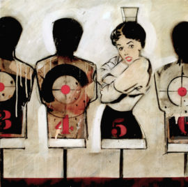 Targets (William Burroughs).Oil on canvas.100cmx100cm. Les Biggs