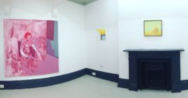 Nine Painters curated by Richard Davey. Featuring artists: Gabriella Boyd, Sean Cummins, Richard Kenton Webb, Selma Parlour, Stephen Chambers, Mali Morris, Steph Goodger, Eleanor Bartlett, Michael Simpson. Photo courtesy Syson Gallery.
