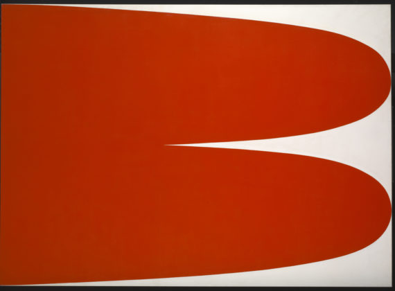 Ellsworth Kelly, Red White, acrylic paint on canvas, 165.4x229.5 x2.9cm, 1966. Tate. Presented by the Tate Americas Foundation, courtesy of Douglas S Cramer 2013. © Ellsworth Kelly; Courtesy: Tate