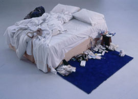 Fig 25. Tracey Emin, 'My Bed', 1998. Matress, Linens, Pillows, Objects 79 x 211 x 234 cm