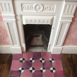 Pink Room fireplace hearth, The Ceramic House