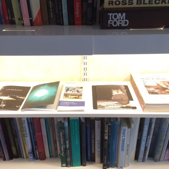 Selected exhibition catalogues and project publications presented in the 'library'.