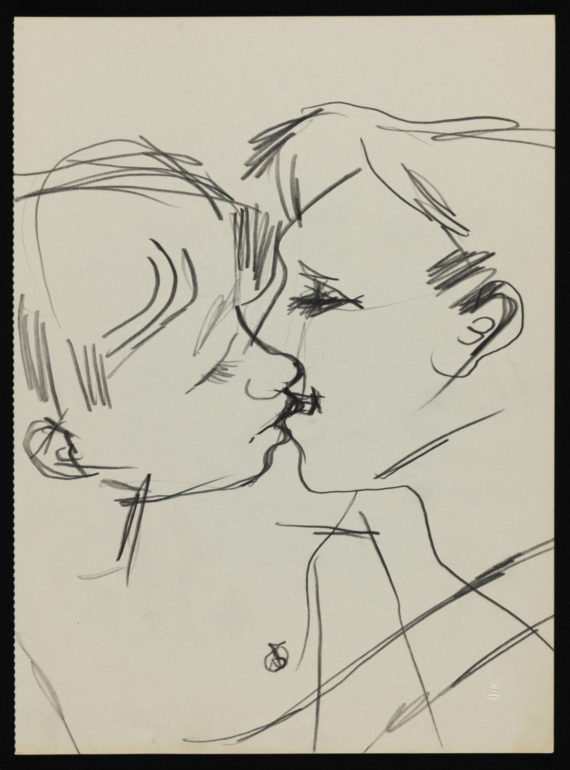 Keith Vaughan, Drawing of two men kissing, 1958–73. Tate Archive. © DACS, The Estate of Keith Vaughan