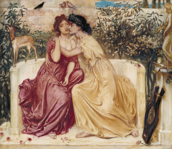Simeon Solomon, Sappho and Erinna in a Garden at Mytilene, 1864. Watercolour on paper, 330 x 381 mm. Courtesy Tate