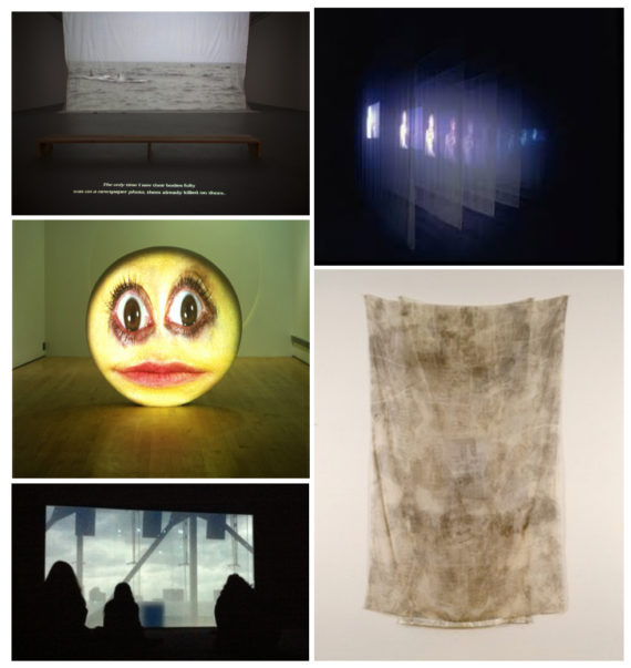"Clockwise: Xinran Yuan ""Seeing Landing"" (Installation view) (2014) Bill Viola ""The Veiling' (1995)  Robert Rauschenberg ""Glacier (Hoarfrost)"" (1974) Rachel Rose ""Everything and More"" (2015) Tony Oursler ""Ello"" (2003)"