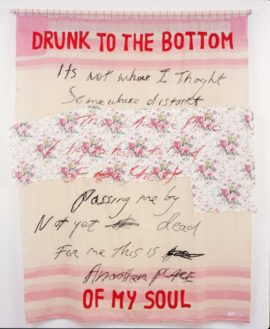 Fig 24. Tracey Emin, 'Drunk to the Bottom of my Soul', 2002. Embroidered blanket, 76.38 x 62.99 in.