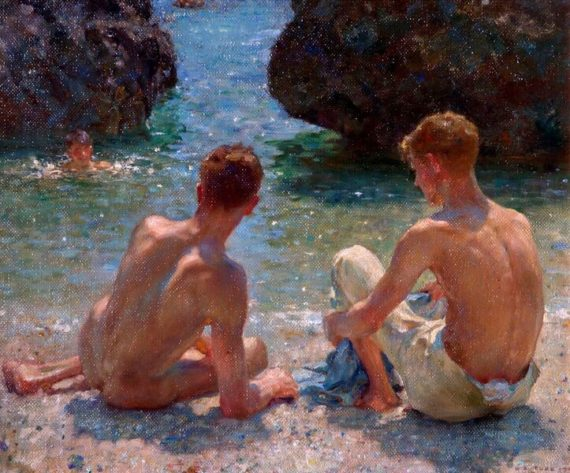 Henry Scott Tuke, The Critics, 1927. Oil on board, 412 x 514 mm. Warwick District Council (Leamington Spa, UK). Courtesy Tate