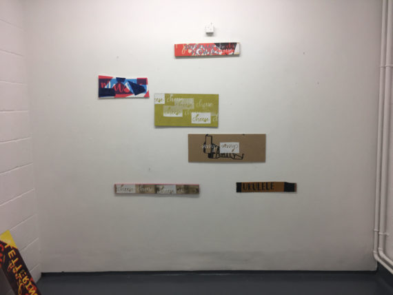 Signs made through print making, experimenting with composition on the wall in installation space.