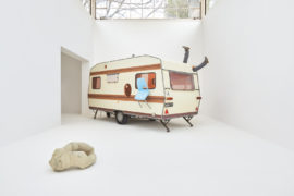 Erwin Wurm, Just about Virtues and Vices in General, 2016 – 2017 Performative One Minute Sculpture, Beitrag Österreich-Pavillon / Contribution Austrian Pavillon, Mixed Media, Caravan, Furniture Pieces H 245 x B 205 x L 592 cm | H 96 1/2 x B 80 2/3 x L 233 in, Unique. Photo: Eva Würdinger, Copyright: Bildrecht, Vienna 2017