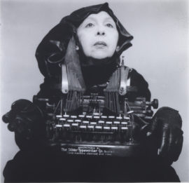 Geta Brătescu, Doamna Oliver în costum de calatorie, [Lady Oliver in Traveling Costume], 1980-2012, b/w photography, 38.9 x 39.5 cm. Photo: Mihai Brătescu; Courtesy: the artist