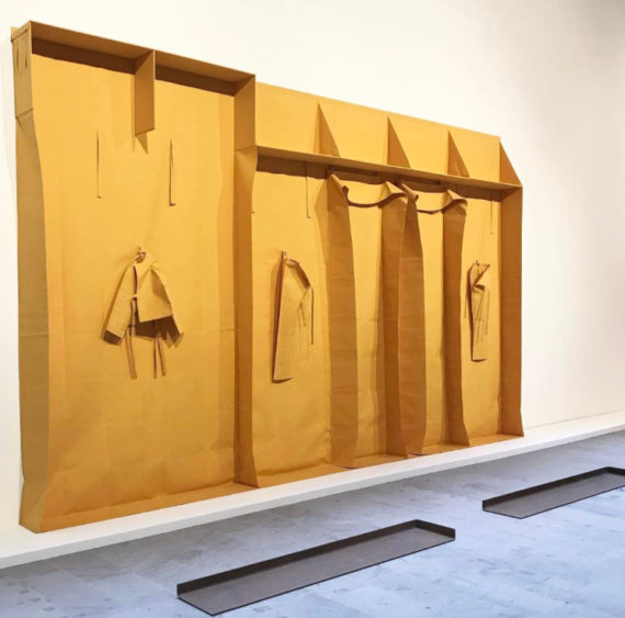 Franz Erhard Walther, Wall formation, Yellow Modelling, 1985, Cotton, wood. From Viva Arte Viva exhibition, Venice Biennale 2017. Photo: Bethan Lloyd Worthington, via https://www.instagram.com/anartistsinfo