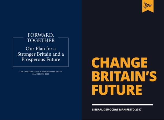 Conservative manifesto 2017: Forward, Together;(right) Liberal Democrat manifesto 2017: Change Britain's Future