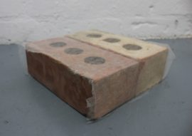 Holly Rowan Hesson - Holding pattern, 2015, found bricks, Japanese conservation grade paper, 30 x 30 x 10cm