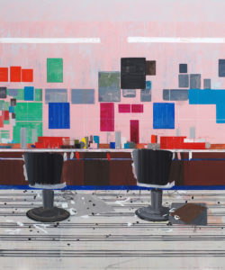 Hurvin Anderson, Flat Top, 2008, Oil on canvas, 250 x 208 cm, 'Hurvin Anderson: Backdrop', Art Gallery of Ontario, 2016. Courtesy: the artist
