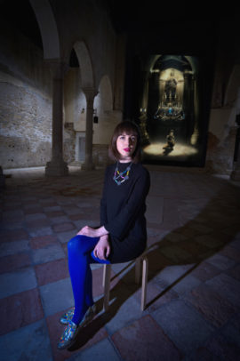 Rachel Maclean pictured at  Chiesa di Santa Caterina where her film, Spite Your Face, 2017, is being shown. Photo: Patrick Rafferty; Courtesy: Scotland + Venice