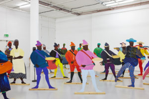 Lubaina Himid, Naming the Money, 2004, installation view of 'Navigation Charts', Spike Island, Bristol, 2017. Photo: Stuart Whipps; Courtesy: the artist, Hollybush Gardens, and National Museums, Liverpool