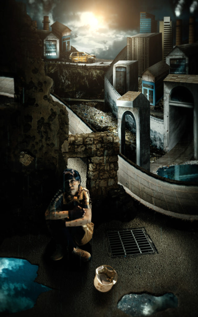 A person sits next to a storm drain in a townscape featuring a mix of ancient and contemporary buildings.