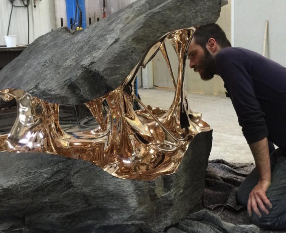 One of Romain Langloir's cast bronze boulders.