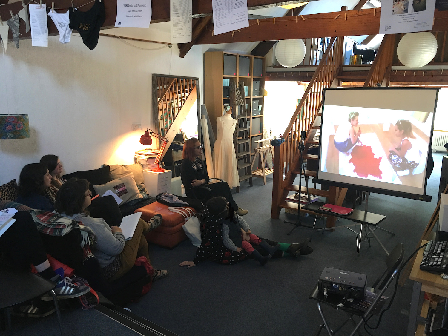 It Takes a Village: Models for Mother Artists event at Atelier Stroud, 23 April 2017, film viewing during 'Mother House' session with Dyana Gravina and Amy Dignam from ProCreate project. Photo: the Women's Art Activation System (WAAS)