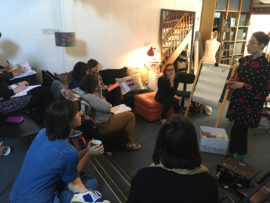 It Takes a Village: Models for Mother Artists event at Atelier Stroud, 23 April 2017, from 'Mother House' session with Dyana Gravina and Amy Dignam from ProCreate project. Photo: the Women's Art Activation System (WAAS)