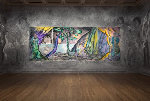 Installation view, Chris Ofili: Weaving Magic, National Gallery. Photography: Gautier Deblonde. Courtesy the artist and Victoria Miro, London, The Clothworkers' Company and Dovecot Tapestry Studio, Edinburgh