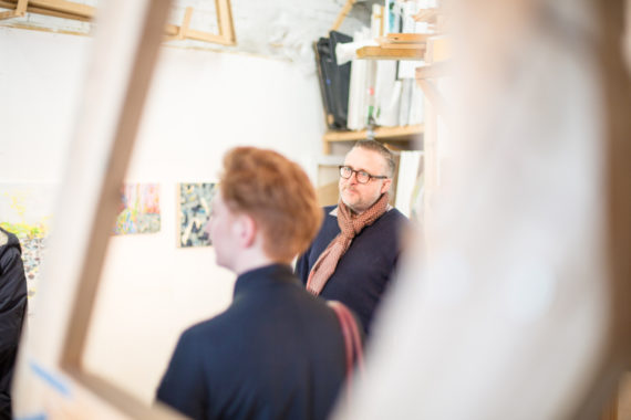 David Price discussing his work at Limbo studios. Photo: Jason Pay