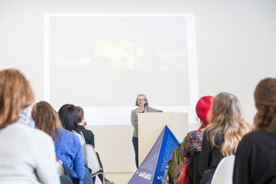 Whitstable Biennale Director Sue Jones, The Curation Process (Or – How do I get them to exhibit my work?) at Turner Contemporary, as part of Assembly Margate. Photo: Jason Pay